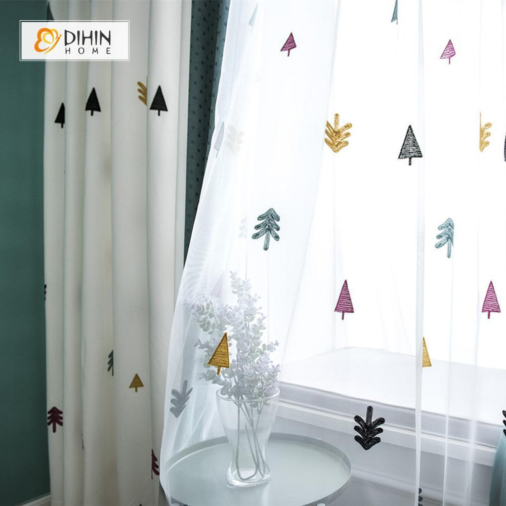 DIHINHOME Home Textile Kid's Curtain DIHIN HOME Cute Tree Embroidered,Blackout Grommet Window Curtain for Living Room ,52x63-inch,1 Panel