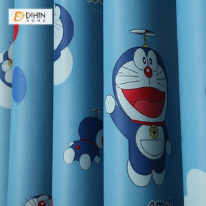 DIHINHOME Home Textile Kid's Curtain DIHIN HOME Doraemon Printed,Blackout Grommet Window Curtain for Living Room ,52x63-inch,1 Panel