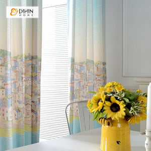 DIHINHOME Home Textile Kid's Curtain DIHIN HOME European and American Towns Printed Curtain ,Cotton Linen ,Blackout Grommet Window Curtain for Living Room ,52x63-inch,1 Panel