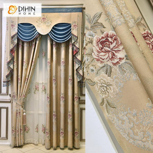 DIHINHOME Home Textile Kid's Curtain DIHIN HOME European Floral Embossed Embroidery Valance ,Blackout Curtains Grommet Window Curtain for Living Room ,52x84-inch,1 Panel