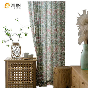 DIHINHOME Home Textile Kid's Curtain DIHIN HOME Garden Printed Half Blackout Curtains,Blackout Grommet Window Curtain for Living Room ,52x63-inch,1 Panel