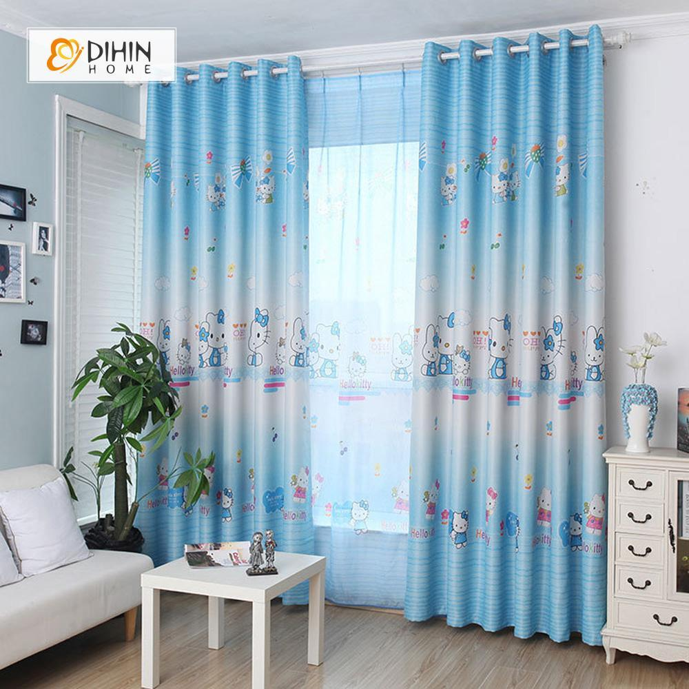 DIHINHOME Home Textile Kid's Curtain DIHIN HOME Hello Kitty Blue Printed,Blackout Grommet Window Curtain for Living Room ,52x63-inch,1 Panel