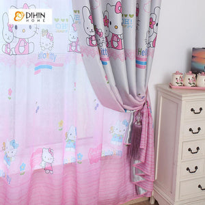 DIHINHOME Home Textile Kid's Curtain DIHIN HOME Hello Kitty Pink Printed,Blackout Grommet Window Curtain for Living Room ,52x63-inch,1 Panel