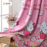 DIHINHOME Home Textile Kid's Curtain DIHIN HOME Hello Kitty Printed ,Cotton Linen ,Blackout Grommet Window Curtain for Living Room ,52x63-inch,1 Panel