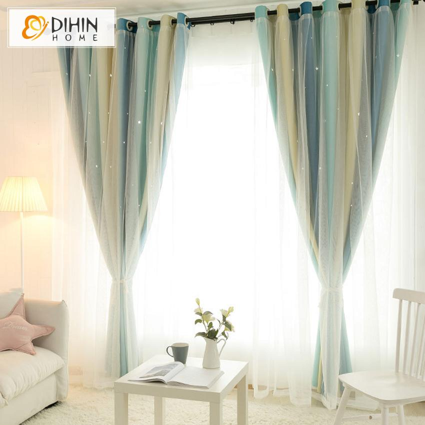 DIHINHOME Home Textile Kid's Curtain DIHIN HOME Modern 3 Colors Gradient Stripe Double Layer Curtain With White Lace,Blackout Curtains Grommet Window Curtain for Living Room ,52x84-inch,1 Panel