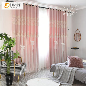 DIHINHOME Home Textile Kid's Curtain DIHIN HOME Modern Double Layer White Bow Clasp Pink Curtain With White Lace,Blackout Curtains Grommet Window Curtain for Living Room ,52x84-inch,1 Panel
