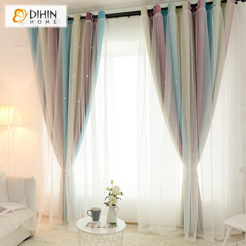 DIHINHOME Home Textile Kid's Curtain DIHIN HOME Modern Gradient Stripe Double Layer Curtain With White Lace,Blackout Curtains Grommet Window Curtain for Living Room ,52x84-inch,1 Panel