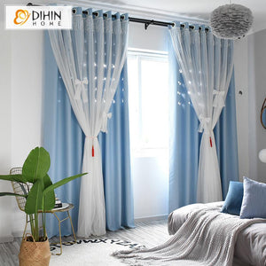 DIHINHOME Home Textile Kid's Curtain DIHIN HOME Modern White Bow Tie High Quality Blue Curtain With White Lace,Blackout Curtains Grommet Window Curtain for Living Room ,52x84-inch,1 Panel