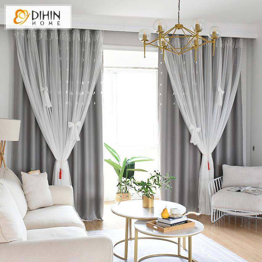 DIHINHOME Home Textile Kid's Curtain DIHIN HOME Modern White Bow Tie High Quality Grey Curtain With White Lace,Blackout Curtains Grommet Window Curtain for Living Room ,52x84-inch,1 Panel