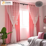 DIHINHOME Home Textile Kid's Curtain DIHIN HOME Modern White Bow Tie High Quality Pink Curtain With White Lace,Blackout Curtains Grommet Window Curtain for Living Room ,52x84-inch,1 Panel