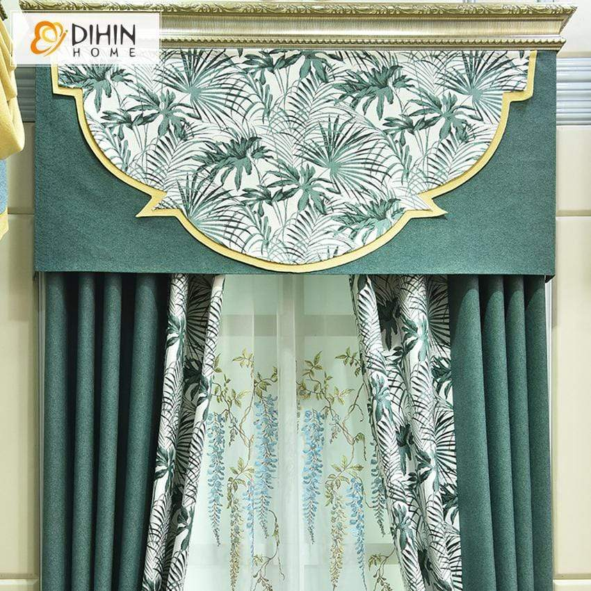 DIHINHOME Home Textile Kid's Curtain DIHIN HOME Pastoral Leaves Printed Valance ,Blackout Curtains Grommet Window Curtain for Living Room ,52x84-inch,1 Panel