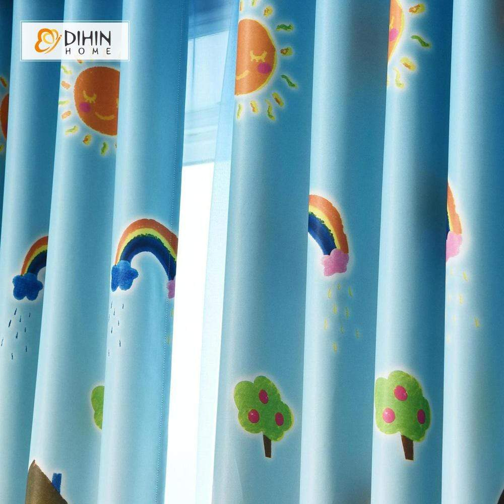 DIHINHOME Home Textile Kid's Curtain DIHIN HOME Pencil and Sun Printed,Blackout Grommet Window Curtain for Living Room ,52x63-inch,1 Panel