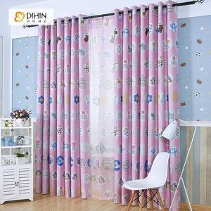 DIHINHOME Home Textile Kid's Curtain DIHIN HOME Pink Cartoon Zebra and Bear Printed,Blackout Grommet Window Curtain for Living Room ,52x63-inch,1 Panel