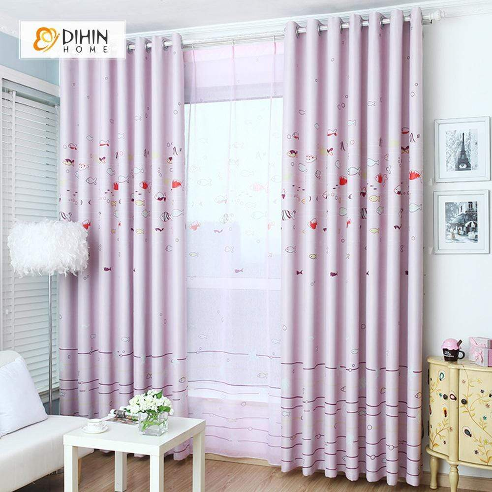 DIHINHOME Home Textile Kid's Curtain DIHIN HOME Pink Fish Printed,Blackout Grommet Window Curtain for Living Room ,52x63-inch,1 Panel