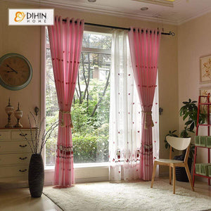 DIHINHOME Home Textile Kid's Curtain DIHIN HOME Pink Hello Kitty and Love Printed,Blackout Grommet Window Curtain for Living Room ,52x63-inch,1 Panel