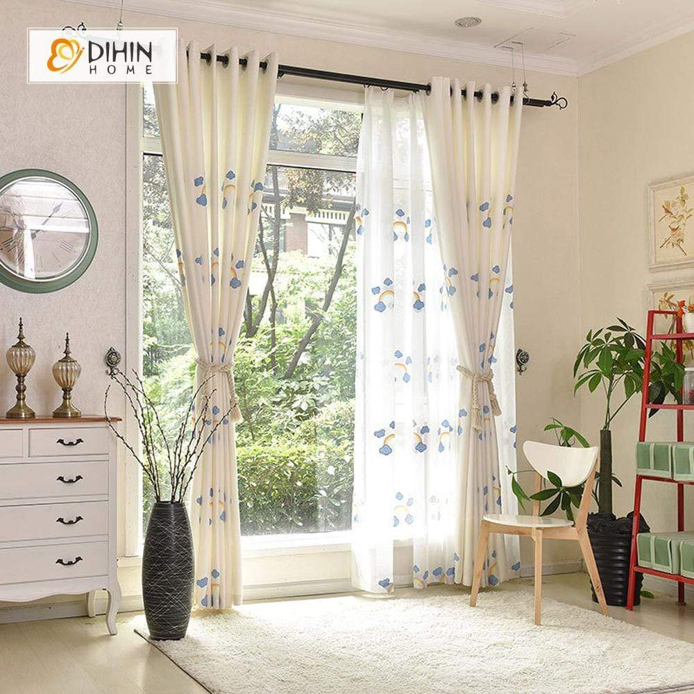 DIHINHOME Home Textile Kid's Curtain DIHIN HOME Rainbow and Cloud Embroidered,Blackout Grommet Window Curtain for Living Room ,52x63-inch,1 Panel