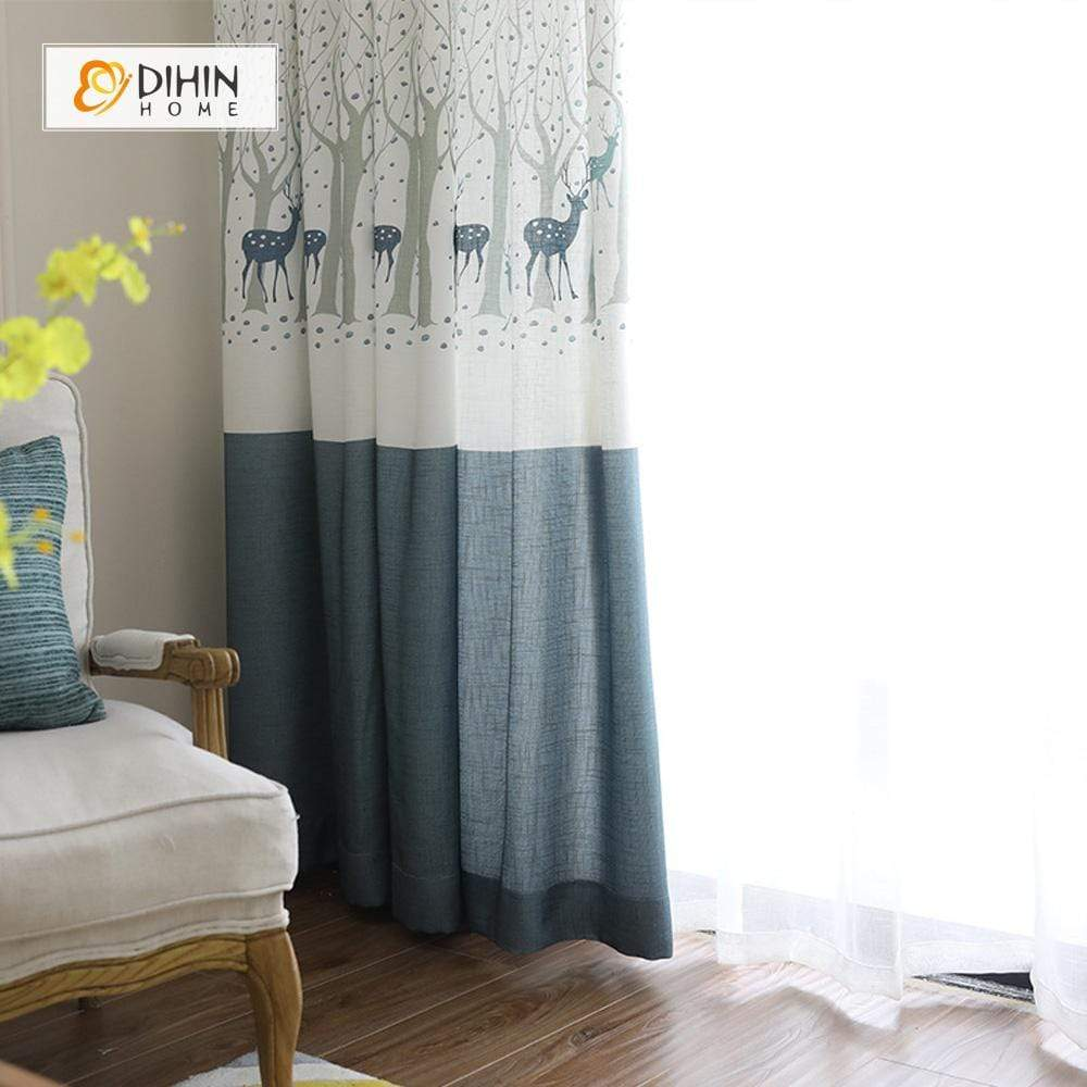 DIHINHOME Home Textile Kid's Curtain DIHIN HOME Sika Deer Printed,Blackout Grommet Window Curtain for Living Room ,52x63-inch,1 Panel