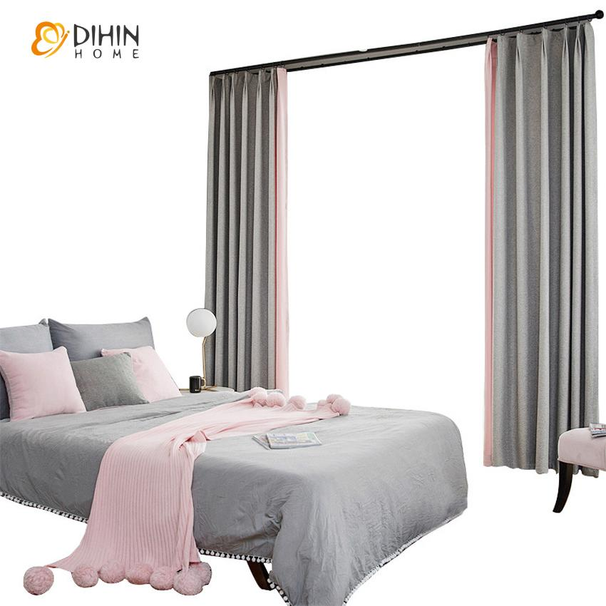 DIHINHOME Home Textile Kid's Curtain DIHIN HOME Simple Neat Grey and Pink Color Printed,Blackout Grommet Window Curtain for Living Room ,52x63-inch,1 Panel