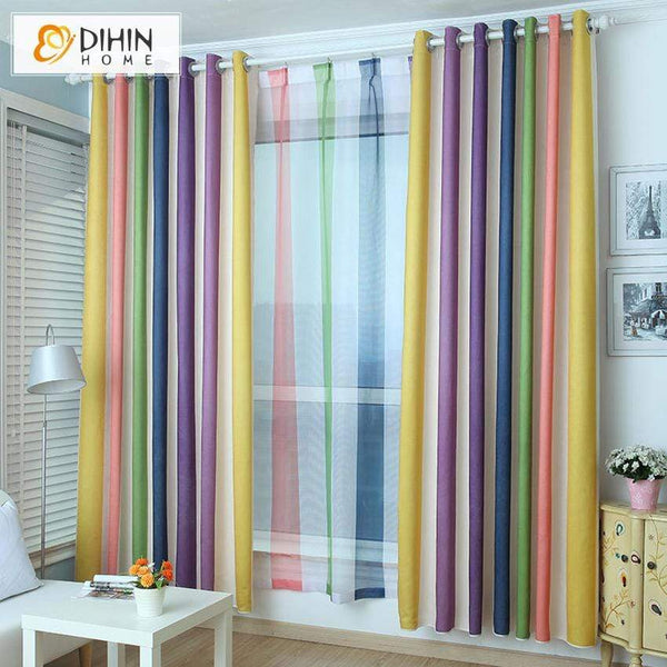 DIHIN HOME Striped Rainbow Printed Curtains,Blackout Grommet Window Curtain  for Living Room ,52x63-inch,1 Panel