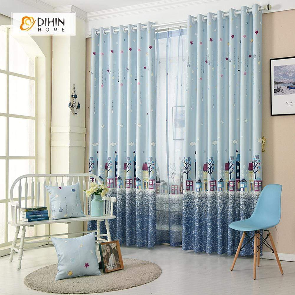 DIHINHOME Home Textile Kid's Curtain DIHIN HOME Tree House Sea Printed,Blackout Grommet Window Curtain for Living Room ,52x63-inch,1 Panel