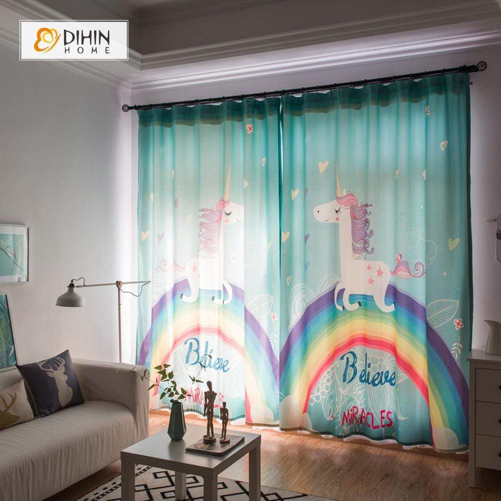 DIHINHOME Home Textile Kid's Curtain DIHIN HOME Unicorn and Rainbow Printed,Blackout Grommet Window Curtain for Living Room ,52x63-inch,1 Panel