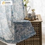 DIHIN HOME Pastoral Cotton Linen Blue and White Porcelain Color Printed,Blackout Grommet Window Curtain for Living Room ,52x63-inch,1 Panel