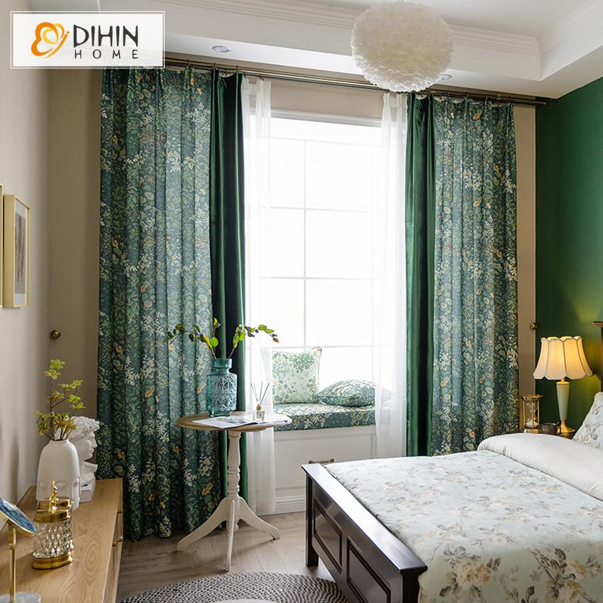 DIHINHOME Home Textile Modern Curtain Copy of DIHIN HOME Modern Fashion Blue Plaid Printed,Blackout Grommet Window Curtain for Living Room ,52x63-inch,1 Panel
