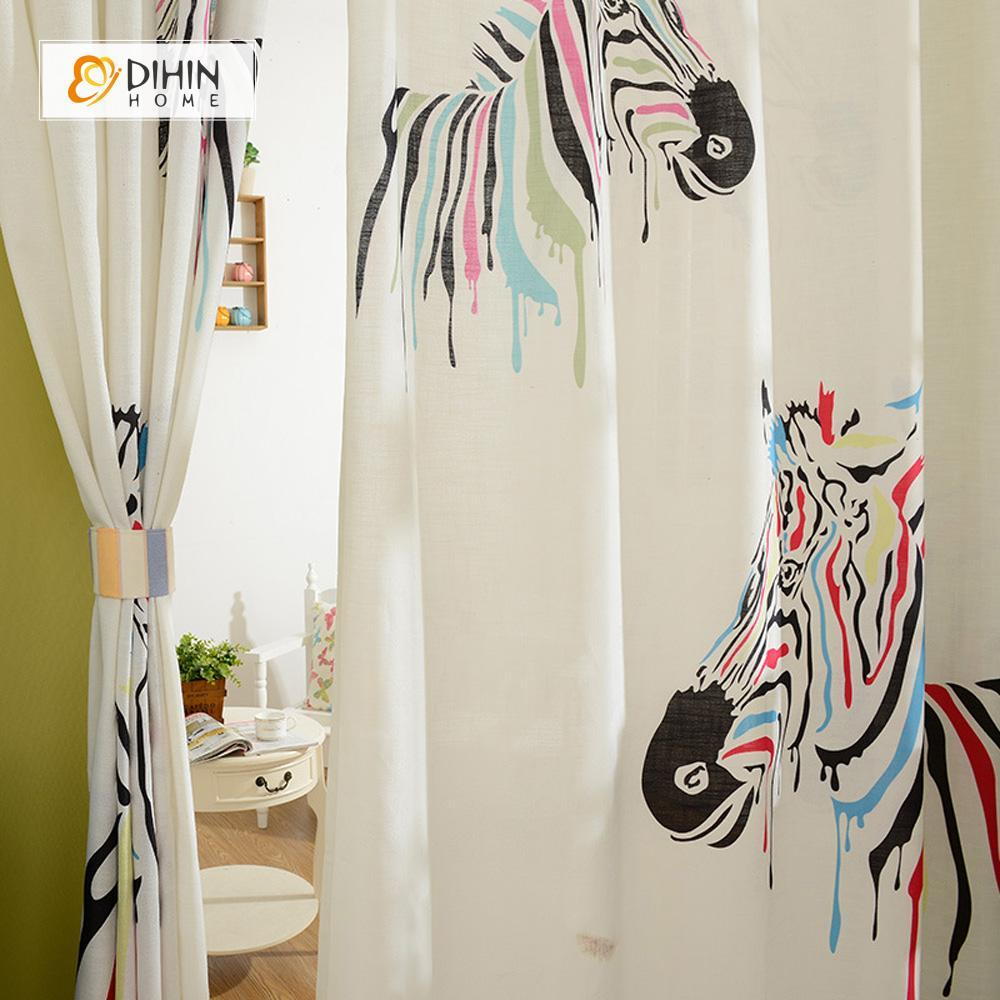 DIHINHOME Home Textile Modern Curtain DIHIN HOME 3D Printed Abstract Zebra Blackout Curtains ,Window Curtains Grommet Curtain For Living Room ,39x102-inch,2 Panels Included