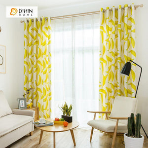 DIHINHOME Home Textile Modern Curtain DIHIN HOME 3D Printed Banana Blackout Curtains ,Window Curtains Grommet Curtain For Living Room ,39x102-inch,2 Panels Included