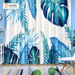 DIHINHOME Home Textile Modern Curtain DIHIN HOME 3D Printed Big Blue Leaves Blackout Curtains ,Window Curtains Grommet Curtain For Living Room ,39x102-inch,2 Panels Included