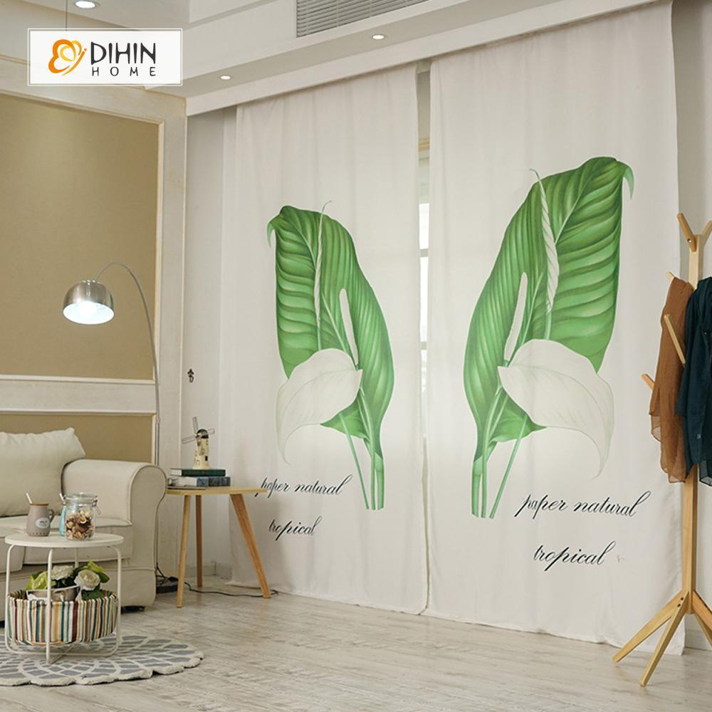 DIHINHOME Home Textile Modern Curtain DIHIN HOME 3D Printed Big Green and White Leaves Blackout Curtains ,Window Curtains Grommet Curtain For Living Room ,39x102-inch,2 Panels Included