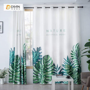 DIHINHOME Home Textile Modern Curtain DIHIN HOME 3D Printed Big Natural Leaves Blackout Curtains ,Window Curtains Grommet Curtain For Living Room ,39x102-inch,2 Panels Included