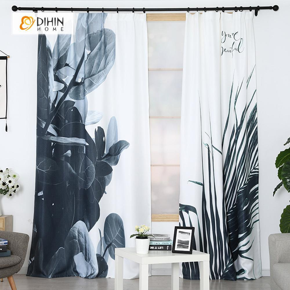 DIHINHOME Home Textile Modern Curtain DIHIN HOME 3D Printed Black Leaves Blackout Curtains ,Window Curtains Grommet Curtain For Living Room ,39x102-inch,2 Panels Included