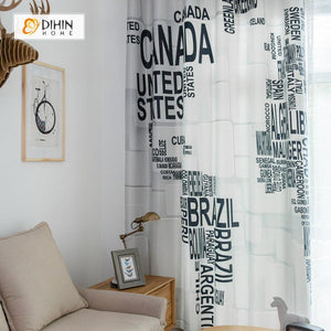 DIHINHOME Home Textile Modern Curtain DIHIN HOME 3D Printed Black Words Blackout Curtains ,Window Curtains Grommet Curtain For Living Room ,39x102-inch,2 Panels Included
