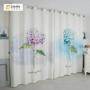 DIHINHOME Home Textile Modern Curtain DIHIN HOME 3D Printed Blue and Purple Flowers Blackout Curtains ,Window Curtains Grommet Curtain For Living Room ,39x102-inch,2 Panels Included