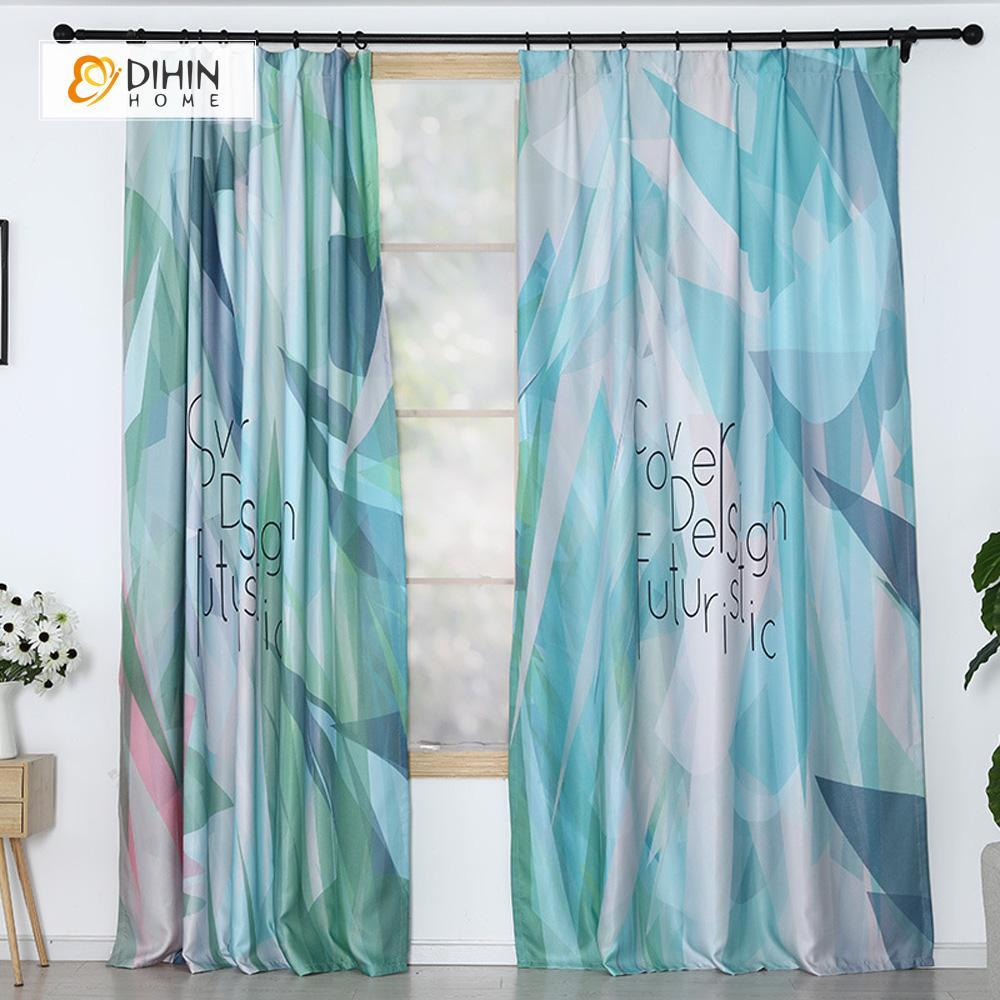 DIHINHOME Home Textile Modern Curtain DIHIN HOME 3D Printed Blue Blackout Curtains ,Window Curtains Grommet Curtain For Living Room ,39x102-inch,2 Panels Included