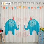 DIHINHOME Home Textile Modern Curtain DIHIN HOME 3D Printed Blue Elephant Blackout Curtains ,Window Curtains Grommet Curtain For Living Room ,39x102-inch,2 Panels Included