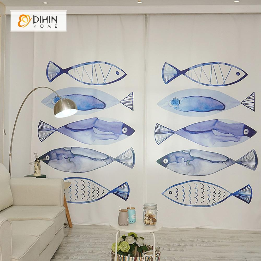 DIHINHOME Home Textile Modern Curtain DIHIN HOME 3D Printed Blue Fish Blackout Curtains ,Window Curtains Grommet Curtain For Living Room ,39x102-inch,2 Panels Included