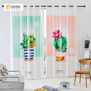 DIHINHOME Home Textile Modern Curtain DIHIN HOME 3D Printed Bonsai Blackout Curtains ,Window Curtains Grommet Curtain For Living Room ,39x102-inch,2 Panels Included