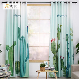 DIHINHOME Home Textile Modern Curtain DIHIN HOME 3D Printed Cactus Blackout Curtains ,Window Curtains Grommet Curtain For Living Room ,39x102-inch,2 Panels Included