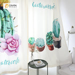 DIHINHOME Home Textile Modern Curtain DIHIN HOME 3D Printed Cactus Bonsai Blackout Curtains ,Window Curtains Grommet Curtain For Living Room ,39x102-inch,2 Panels Included