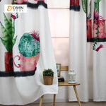 DIHINHOME Home Textile Modern Curtain DIHIN HOME 3D Printed Cactus Flowers Blackout Curtains ,Window Curtains Grommet Curtain For Living Room ,39x102-inch,2 Panels Included