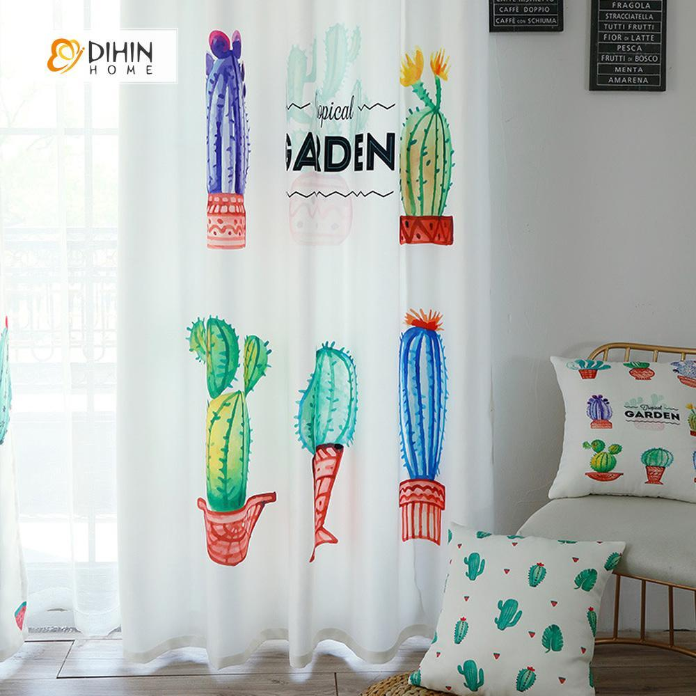 DIHINHOME Home Textile Modern Curtain DIHIN HOME 3D Printed Cactus Garden Blackout Curtains ,Window Curtains Grommet Curtain For Living Room ,39x102-inch,2 Panels Included