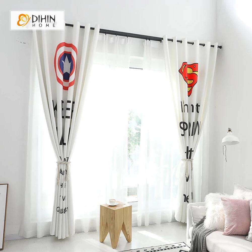 DIHINHOME Home Textile Modern Curtain DIHIN HOME 3D Printed Captain America and Superman Blackout Curtains ,Window Curtains Grommet Curtain For Living Room ,39x102-inch,2 Panels Included