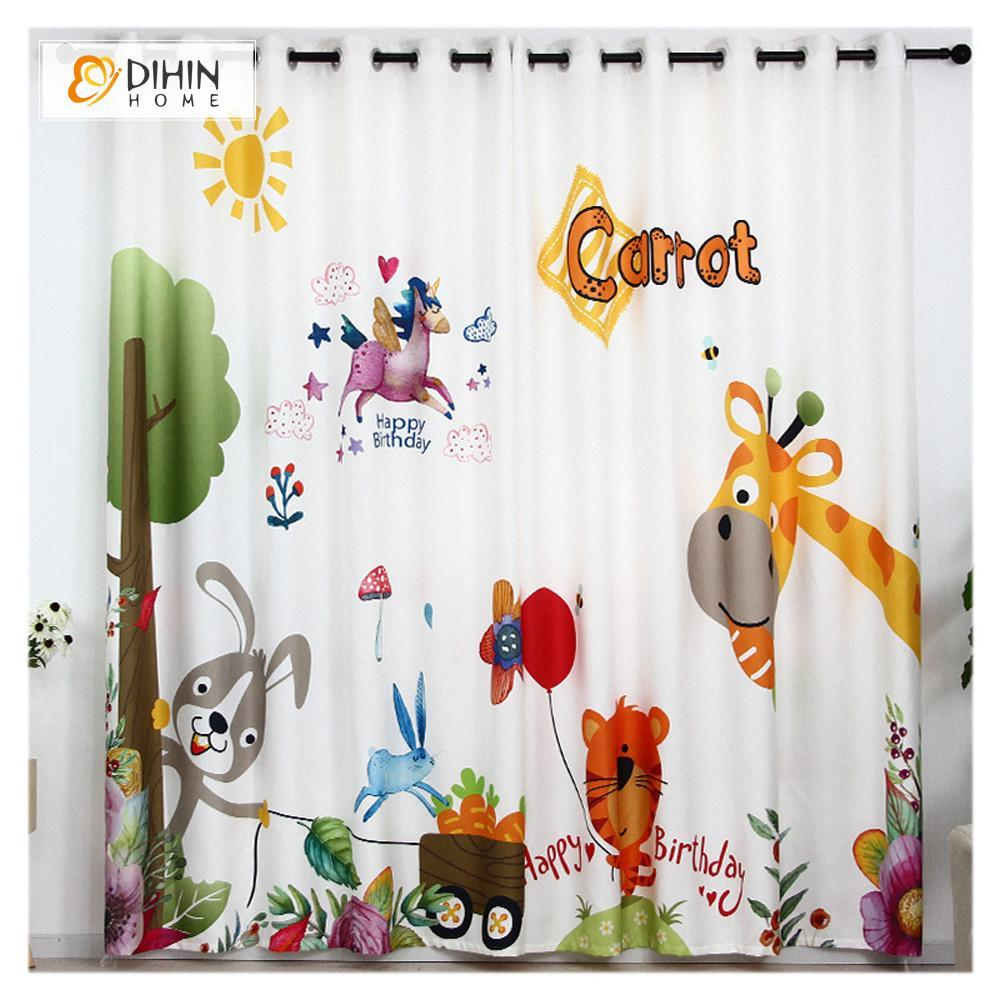 DIHINHOME Home Textile Modern Curtain DIHIN HOME 3D Printed Cartoon Animal Blackout Curtains ,Window Curtains Grommet Curtain For Living Room ,39x102-inch,2 Panels Included