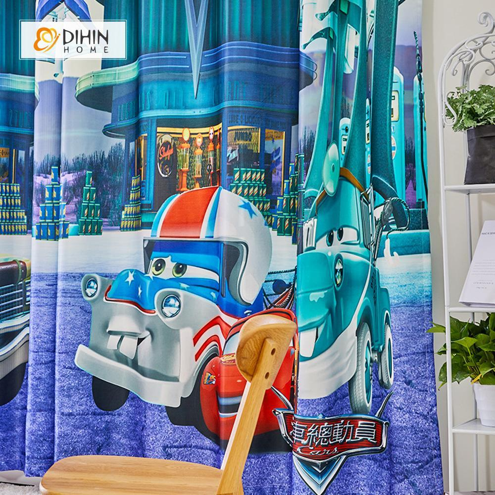 DIHINHOME Home Textile Modern Curtain DIHIN HOME 3D Printed Cartoon Cars Blackout Curtains ,Window Curtains Grommet Curtain For Living Room ,39x102-inch,2 Panels Included