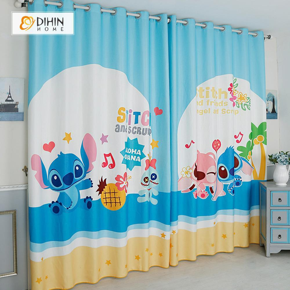 DIHINHOME Home Textile Modern Curtain DIHIN HOME 3D Printed Cartoon Monster Blackout Curtains ,Window Curtains Grommet Curtain For Living Room ,39x102-inch,2 Panels Included
