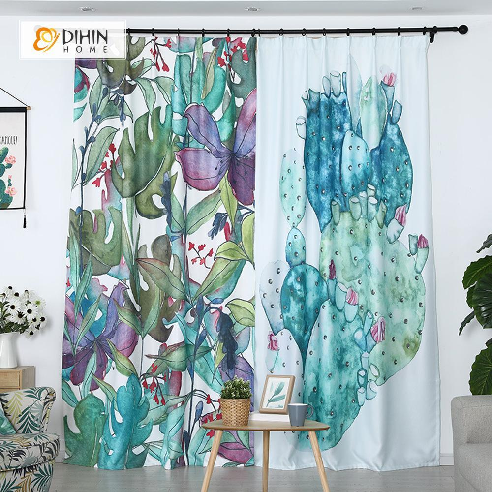 DIHINHOME Home Textile Modern Curtain DIHIN HOME 3D Printed Colorful Leaves Blackout Curtains ,Window Curtains Grommet Curtain For Living Room ,39x102-inch,2 Panels Included