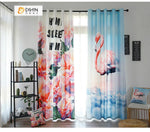 DIHINHOME Home Textile Modern Curtain DIHIN HOME 3D Printed Crane and Flowers Blackout Curtains ,Window Curtains Grommet Curtain For Living Room ,39x102-inch,2 Panels Included