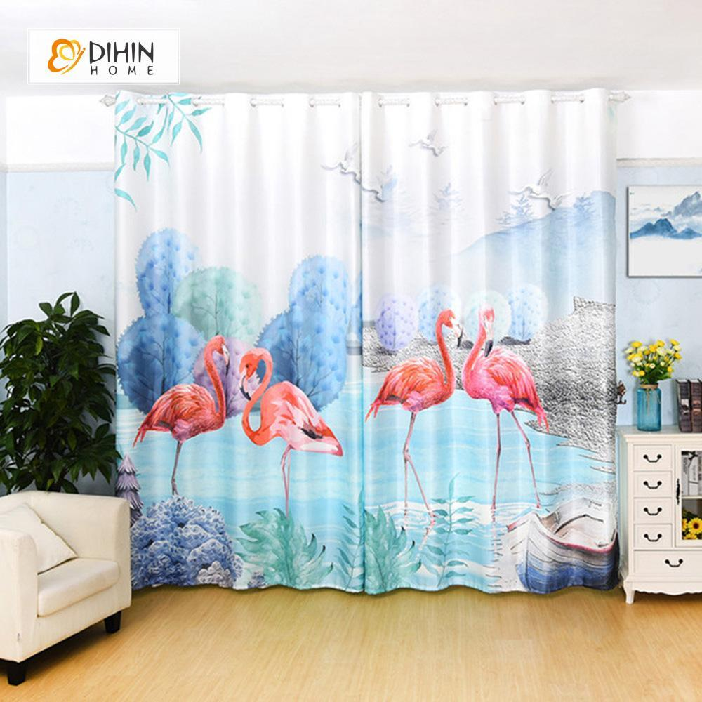 DIHINHOME Home Textile Modern Curtain DIHIN HOME 3D Printed Crane and Tree Blackout Curtains ,Window Curtains Grommet Curtain For Living Room ,39x102-inch,2 Panels Included
